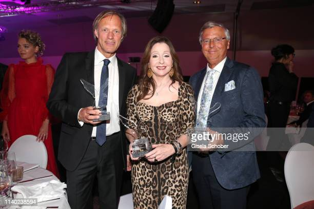 Gerhard Delling Vicky Leandros Wolfgang Bosbach with award during the 7th Fashion Charity Dinner and the Best of Awards at Hotel Leonardo Royal on...