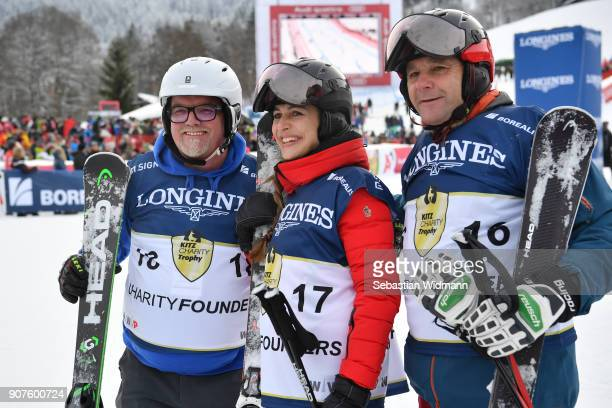 Gerhard Friedle better known as DJ Oetzi Helene Berger and Roland Berger pose for a picture during the KitzCharityTrophy on January 20 2018 in...