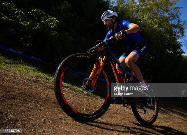 Gerhard Kerschbaumer of Italy during the men's Elite Cross-country Olympic distance race at the UCI Mountain Bike World Championships at...