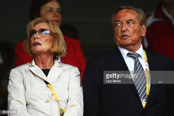 Gerhard MayerVorfelder current Vice President of the Union of European Football Associations and his wife Margit look on prior to the Women's...