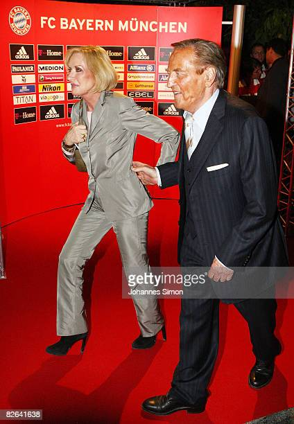 Gerhard MayerVorfelder current Vice President of the Union of European Football Associations and his wife Margit arrive for the Oliver Kahn Farewell...