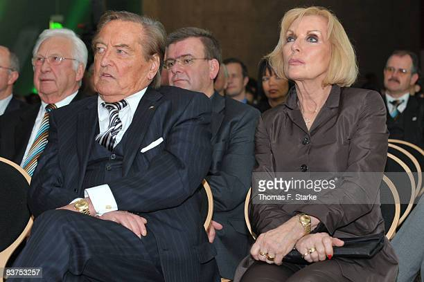 Gerhard MayerVorfelder current Vice President of the Union of European Football Associations and his wife Margit look on during the JuliusHirschAward...