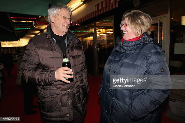 Gerhard Polt and his wife Christine attend the premiere of the film 'Und Aektschn' at City Kino on January 30 2014 in Munich Germany