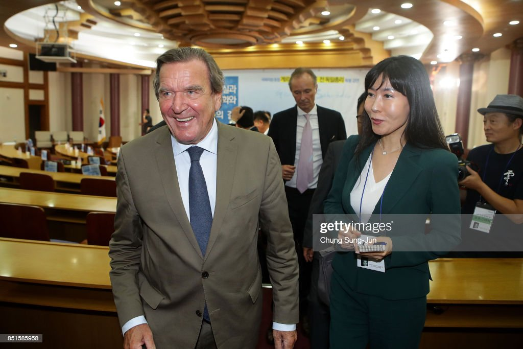 Gerhard Schroeder and So-Yeon Kim are seen after his meeting with South Korean National Assembly Speaker Chung Sye-kyun at the National Assembly on September 11, 2017 in Seoul, South Korea. Schroeder was on a visit in Seoul to speak about achieving peace and reunification on the Korean Peninsula.