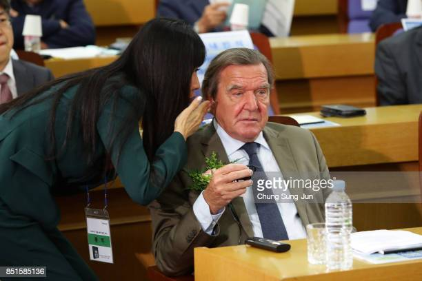 Gerhard Schroeder and SoYeon Kim are seen during a opening ceremony at the National Assembly on September 11 2017 in Seoul South Korea Schroeder was...