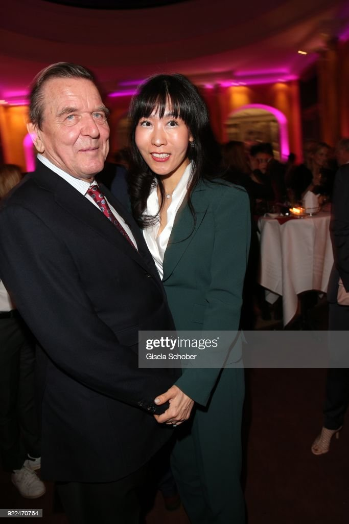 Gerhard Schroeder, former Chancellor of Germany and his girlfriend Kim So-yeon during the 15th Best Brands Award 2018 on February 21, 2018 at Hotel Bayerischer Hof in Munich, Germany.