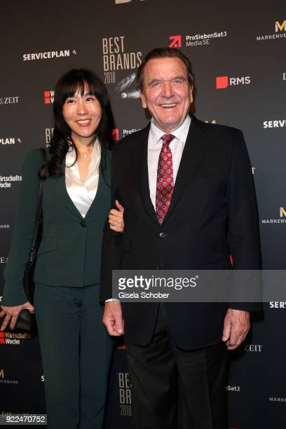 Gerhard Schroeder former Chancellor of Germany and his girlfriend Kim Soyeon during the 15th Best Brands Award 2018 on February 21 2018 at Hotel...