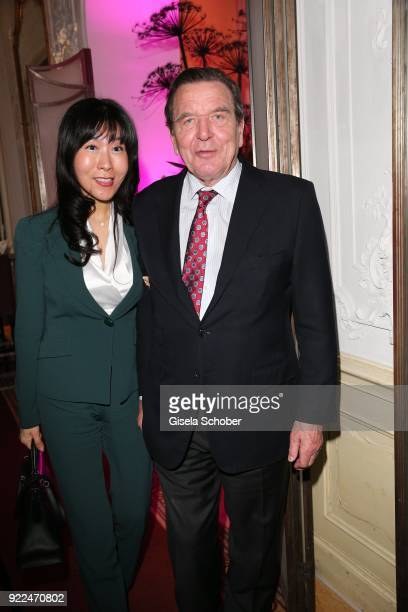 Gerhard Schroeder former Chancellor of Germany and his partner Seyeon Kim during the 15th Best Brands Award 2018 on February 21 2018 at Hotel...
