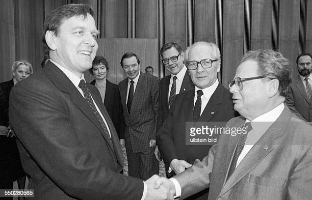 Gerhard Schroeder on a visit to the GDR from left Gerhard Schroeder Erich Honecker General Secretary of the Central Committee of the Socialist Unity...