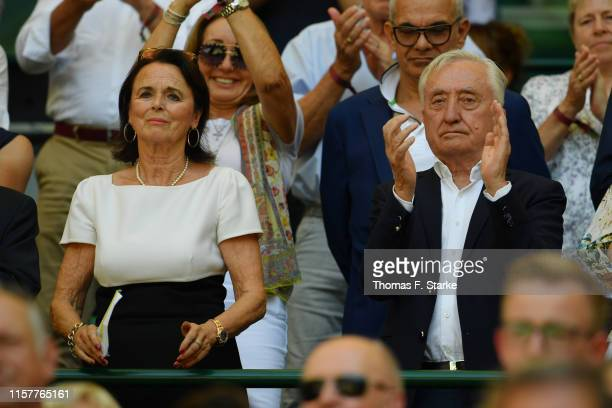Gerhard Weber and Elke Hardieck applaud during day 7 of the Noventi Open at Gerry Weber Stadium on June 23, 2019 in Halle, Germany.