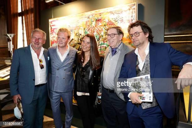 "Gerhardt Braun, Leon Löwentraut, a guest, Jürgen A. Messmer and Dirk Geuer attend the exhibition opening ""Leonismo"" by artist Leon Loewentraut on May..."