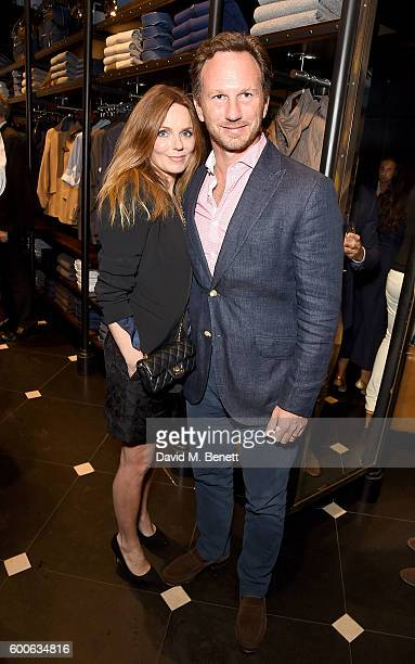 Geri and Christian Horner attend the launch of the Aston Martin by Hackett collection at Hackett Regent Street on September 8 2016 in London England