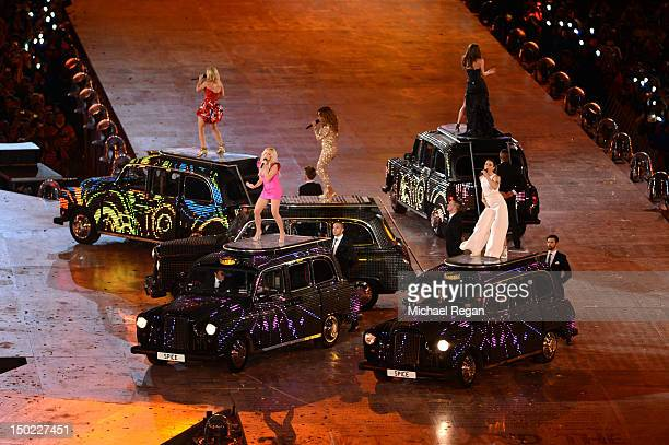 Geri Haliwell Emma Bunton Melanie Chisholm Victoria Beckham and Melanie Brown of the Spice Girls perform during the Closing Ceremony on Day 16 of the...