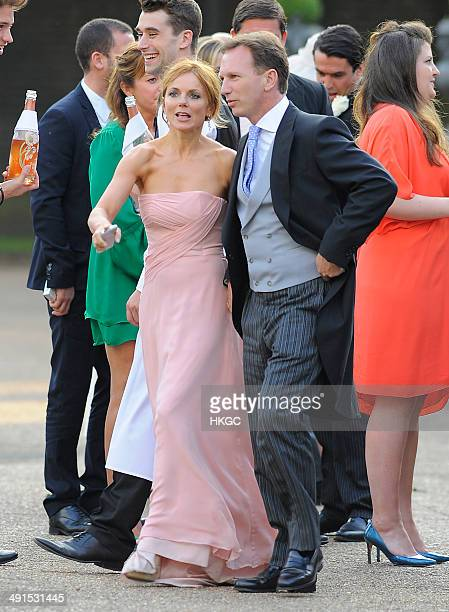 Geri Halliwell and Christian Horner attend Poppy Delevingne and James Cook's wedding reception held in Kensington Palace Gardens on May 16 2014 in...