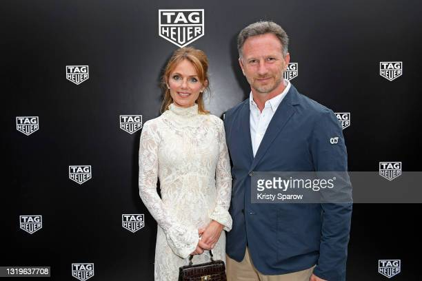 Geri Halliwell and Christian Horner attend the TAG Heuer pre-race dinner at the Hotel Fairmont on May 22, 2021 in Monaco, Monaco.