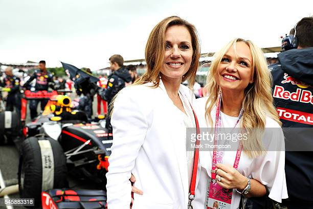 Geri Halliwell and Emma Bunton on the grid before the Formula One Grand Prix of Great Britain at Silverstone on July 10 2016 in Northampton England