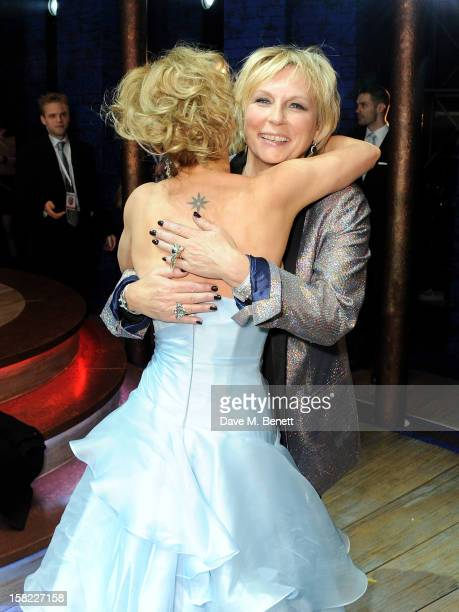 Geri Halliwell and Jennifer Saunders pose backstage at the Gala Press Night performance of 'Viva Forever' at the Piccadilly Theatre on December 11...