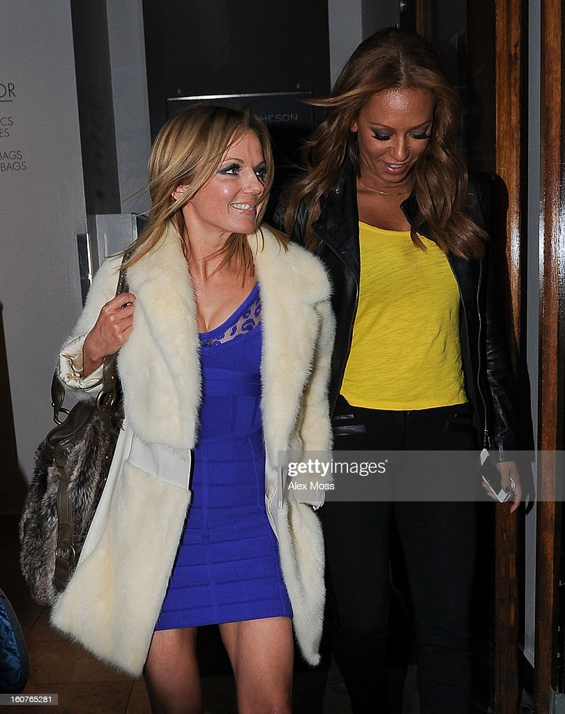 Geri Halliwell (L) and Melanie Brown are seen leaving the Viva Forever afternoon tea launch at Harvey Nichols on February 5, 2013 in London, England.
