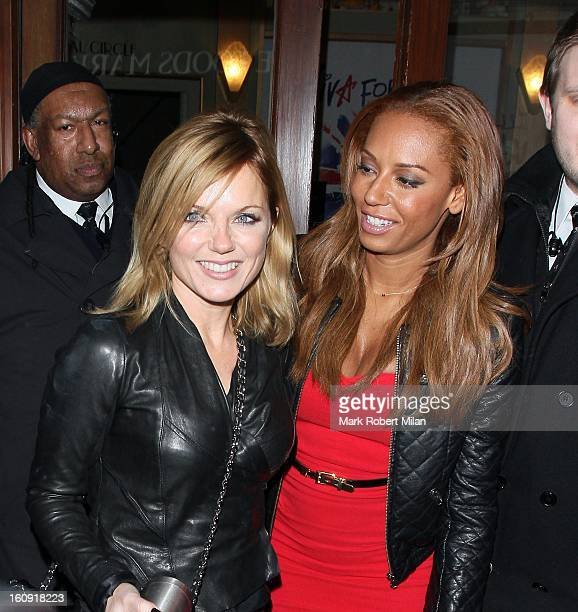 Geri Halliwell and Melanie Brown at Viva Forever the musical on February 7 2013 in London England