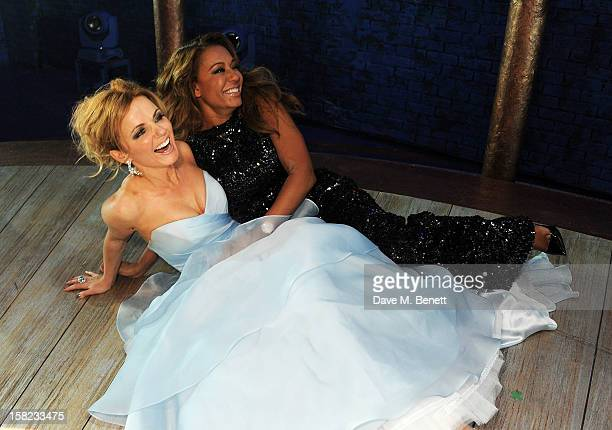 Geri Halliwell and Melanie Brown pose backstage at the Gala Press Night performance of 'Viva Forever' at the Piccadilly Theatre on December 11 2012...