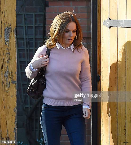 Geri Halliwell leaves her North London home on February 18 2015 in London England