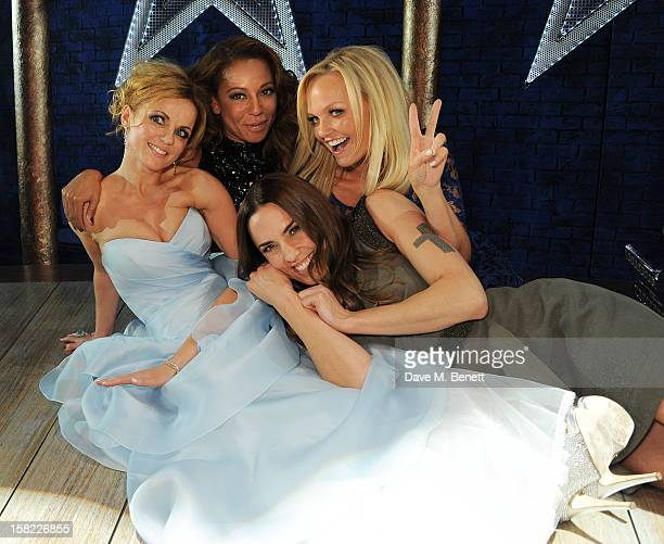 Geri Halliwell Melanie Brown Melanie Chisholm and Emma Bunton pose backstage at the Gala Press Night performance of 'Viva Forever' at the Piccadilly...