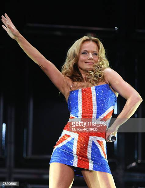 ACCESS*** Geri Halliwell of the Spice Girls performs during the first concert of the UK leg of their world tour at the O2 Arena December 15 2007 in...