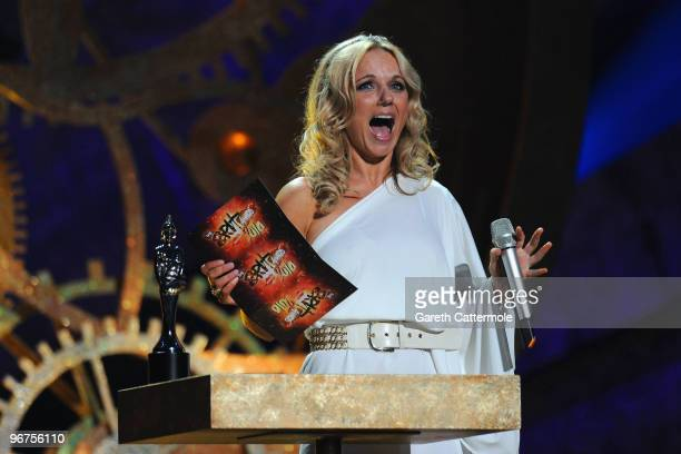 Geri Halliwell presents the award for 'British Breakthrough Act' on stage at The Brit Awards 2010 at Earls Court on February 16 2010 in London England