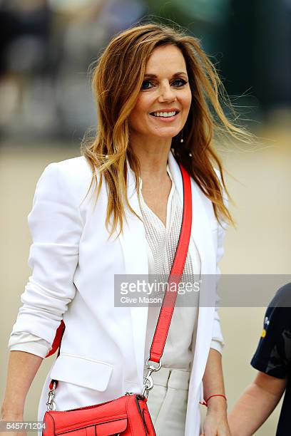 Geri Halliwell walks in the Paddock before the Formula One Grand Prix of Great Britain at Silverstone on July 10 2016 in Northampton England
