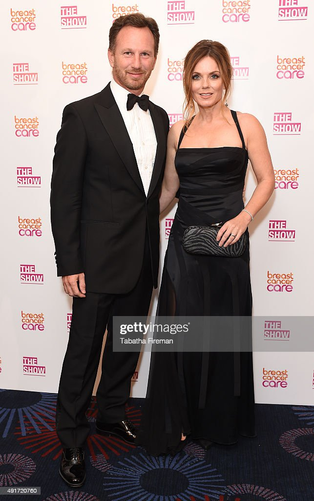 Geri Halliwell with Christian Horner at Breast Cancer Care's London fashion show at Grosvenor House Hotel to launch Breast Cancer Awareness Month, on October 7, 2015 in London, England.