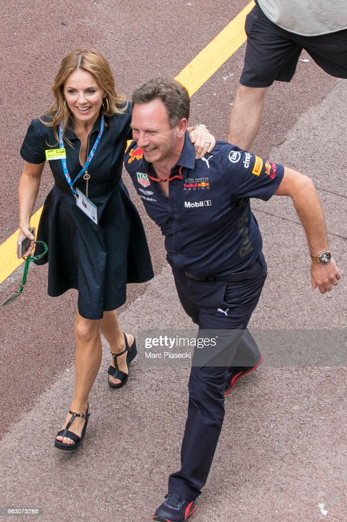Geri Horner (L) and Christian Horner are seen during the Monaco Formula One Grand Prix at Circuit de Monaco on May 27, 2018 in Monte-Carlo, Monaco.