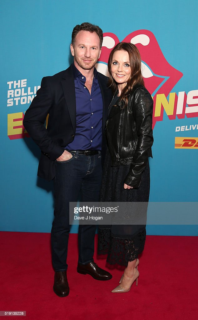 Geri Horner (R) and Christian Horner attend an after party for 'The Rolling Stones: Exhibitionism' Saatchi Gallery on April 4, 2016 in London, England.