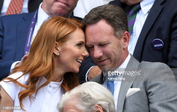 Geri Horner and Christian Horner attend day five of the Wimbledon Tennis Championships at All England Lawn Tennis and Croquet Club on July 05, 2019...