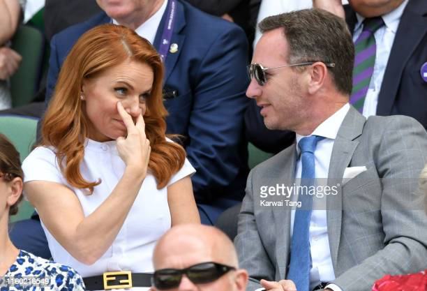 Geri Horner and Christian Horner attend day five of the Wimbledon Tennis Championships at All England Lawn Tennis and Croquet Club on July 05 2019 in...