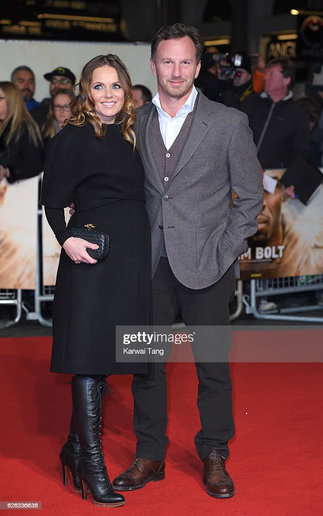 Geri Horner and Christian Horner attend the World Premiere of 'I Am Bolt' at Odeon Leicester Square on November 28, 2016 in London, England.