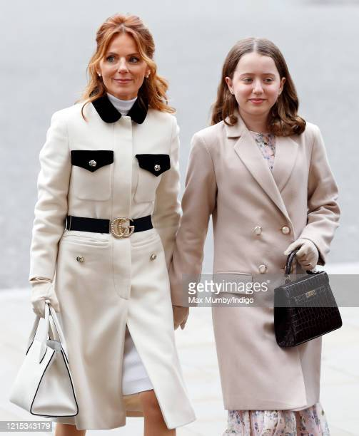 Geri Horner and daughter Bluebell Halliwell attend the Commonwealth Day Service 2020 at Westminster Abbey on March 9 2020 in London England The...