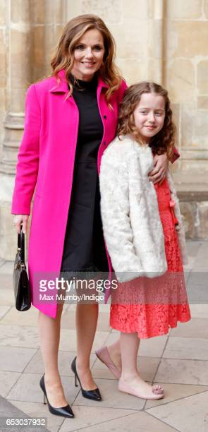 Geri Horner and daughter Bluebell Halliwell attend the Commonwealth Day Service at Westminster Abbey on March 13 2017 in London England