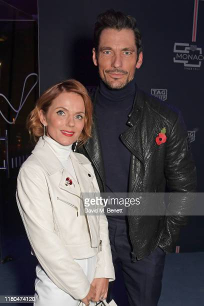 Geri Horner and David Gandy attend the star-studded celebration of the 50th anniversary of the iconic TAG Heuer Monaco, featuring the launch of two...