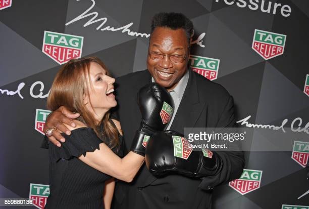 Geri Horner and Larry Holmes attend the launch of the TAG Heuer Muhammad Ali Limited Edition Timepieces at BXR Gym on October 10 2017 in London...