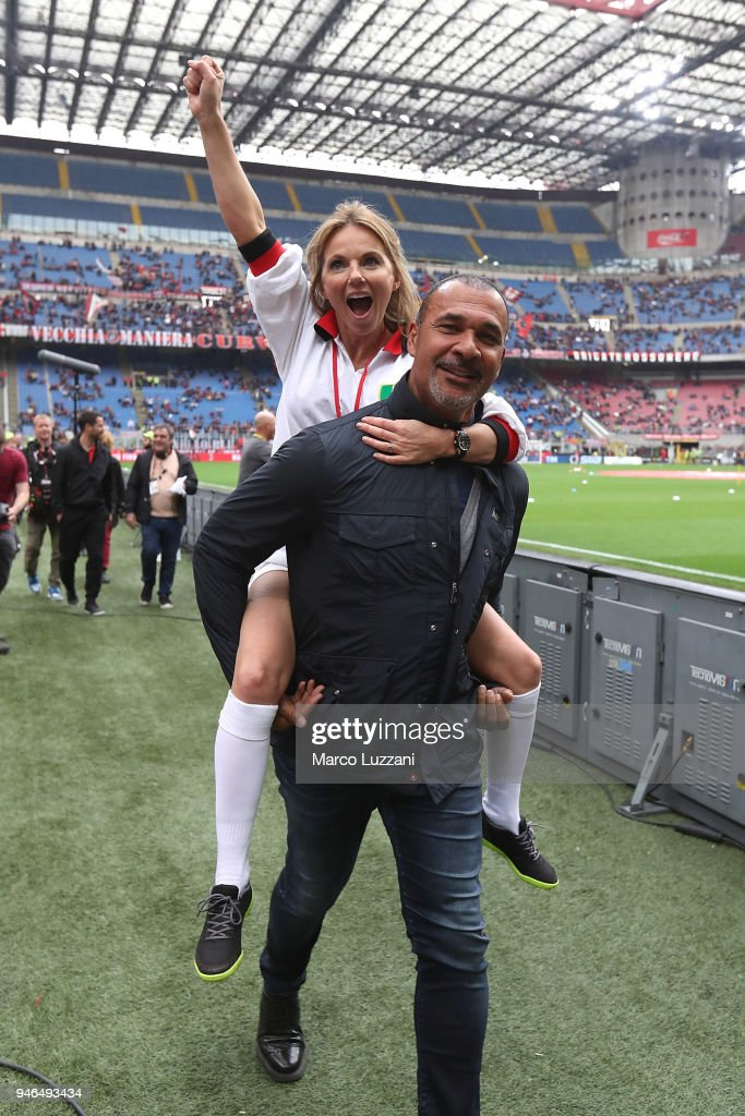 Geri Horner and Ruud Gullit before the serie A match between AC Milan and SSC Napoli at Stadio Giuseppe Meazza on April 15, 2018 in Milan, Italy.