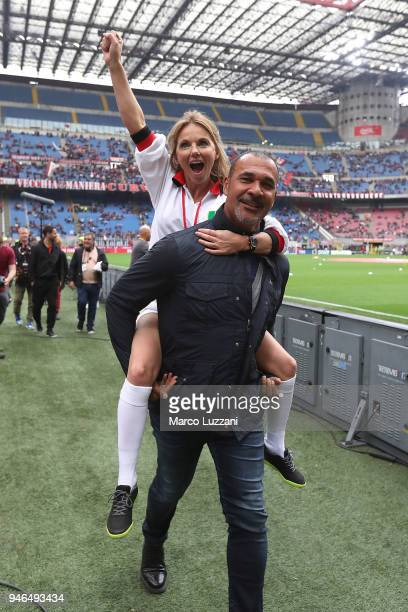 Geri Horner and Ruud Gullit before the serie A match between AC Milan and SSC Napoli at Stadio Giuseppe Meazza on April 15 2018 in Milan Italy