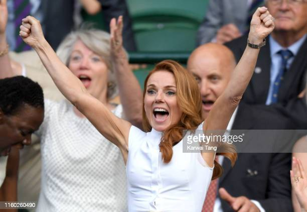 Geri Horner attends day five of the Wimbledon Tennis Championships at All England Lawn Tennis and Croquet Club on July 05 2019 in London England