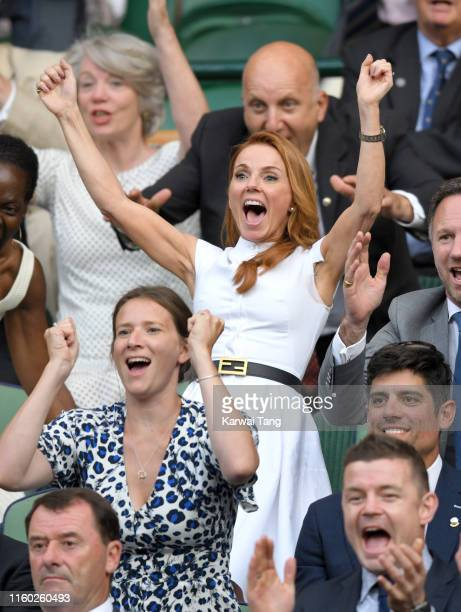 Geri Horner attends day five of the Wimbledon Tennis Championships at All England Lawn Tennis and Croquet Club on July 05, 2019 in London, England.