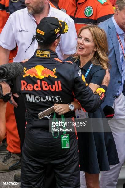 Geri Horner congratulates race winner Daniel Ricciardo during the Monaco Formula One Grand Prix at Circuit de Monaco on May 27, 2018 in Monte-Carlo,...