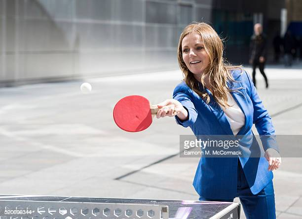 Geri Horner visits the Prince's Trust mobile tour at Finsbury Avenue Square on April 12 2016 in London England