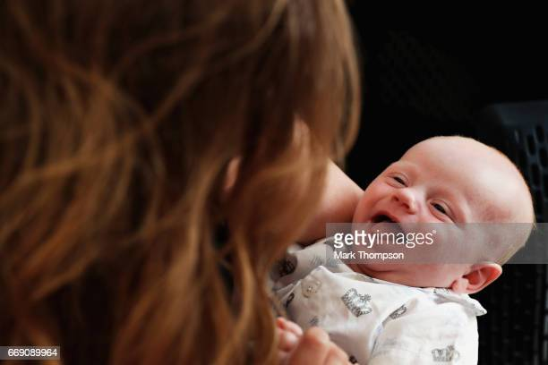 Geri Horner with baby Montague in the Paddock before the Bahrain Formula One Grand Prix at Bahrain International Circuit on April 16 2017 in Bahrain...