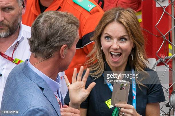 Geri Horner with David Coulthard during the Monaco Formula One Grand Prix at Circuit de Monaco on May 27 2018 in MonteCarlo Monaco