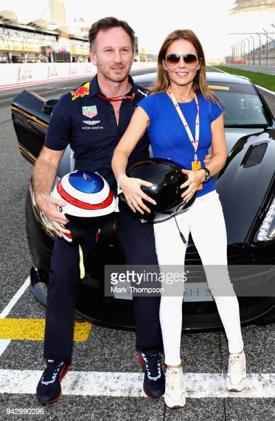 Geri Horner with husband Red Bull Racing Team Principal Christian Horner before taking part in the F1 Hotlaps in an Aston Martin Vanquish S before...