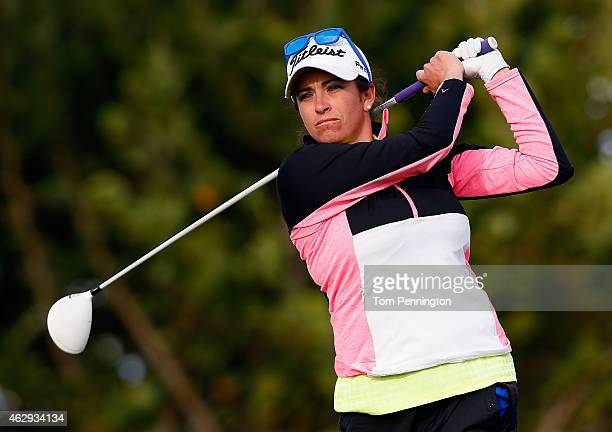 Gerina Piller hits a tee shot on the fourth hole during round three of the Pure Silk Bahamas LPGA Classic at the Ocean Club course on February 7 2015...