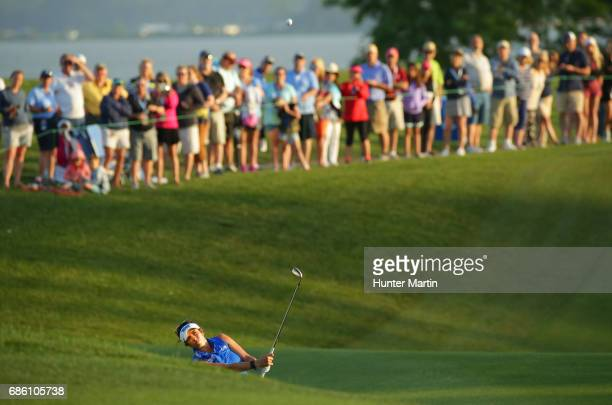 Gerina Piller hits her second shot on the 18th hole during the third round of the Kingsmill Championship presented by JTBC on the River Course at...